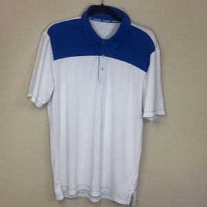 Adidas Men's Climachill White and Blue Polo Shirt